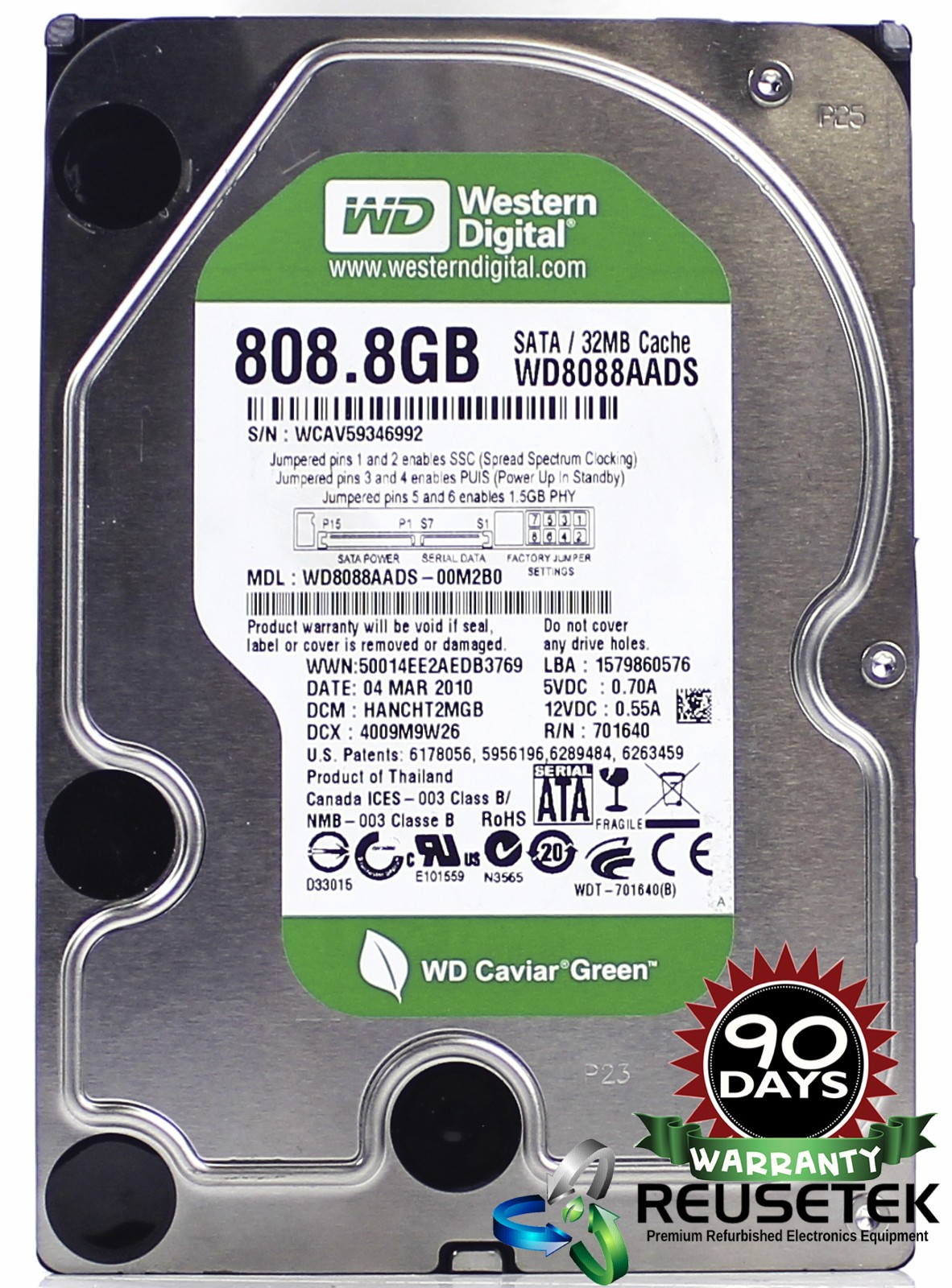 "100257-SN12346985-Western Digital WD8088AADS-00M2B0 DCM: HANCHT2MGB 808.8GB 3.5"" Sata Hard Drive-image"