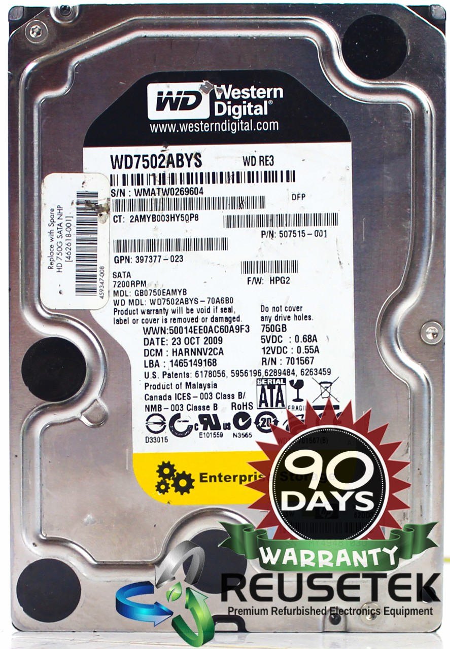 "5000317696079017-SN12175155-Western Digital WD7502ABYS-70A6B0 DCM: HARNNV2CA 750GB 3.5"" Sata Hard Drive-image"