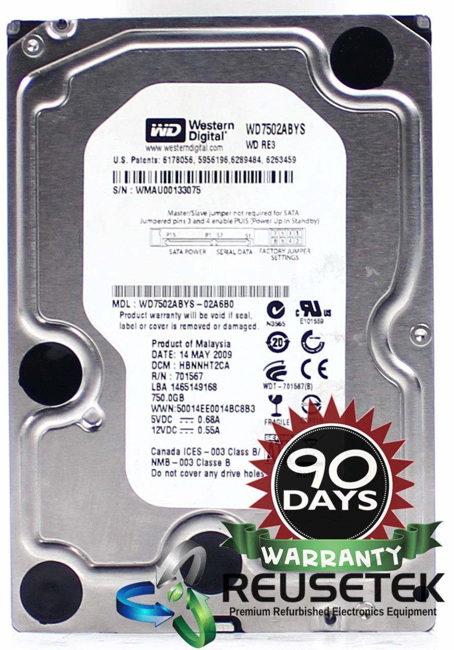"SN11817672-Western Digital WD7502ABYS-02A6B0 DCM: HBNNHT2CA 750GB 3.5"" Sata Hard Drive-image"