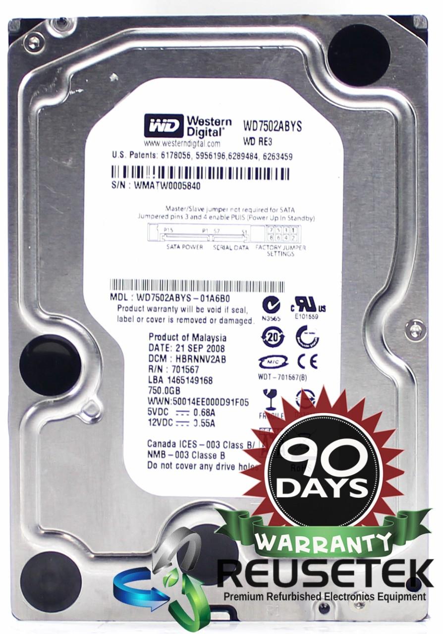 """SN11851401-Western Digital WD7502ABYS-01A6B0 DCM: HBRNNV2AB 750GB 3.5"""" Sata Hard Drive-image"""