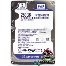 """Western Digital WD2500BEVT-00A23T0 DCM: EHMTJHBB 250GB 2.5"""" Laptop Sata Hard Drive"""