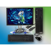 Refurbished Lenovo ThinkCentre M72e SFF Pentium Computer Windows 10 Bundle 4GB RAM 320GB Storage w/ Keyboard Mouse & 17-Inch Monitor