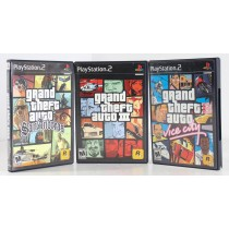 Grand Theft Auto San Andreas, Grand Theft Auto Vice City, Grand Theft Auto III -Lot of 3 For Playstation 2